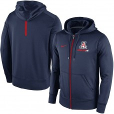 Arizona Wildcats Navy KO Sideline Fleece Therma-Fit Full-Zip College Football Hoodie