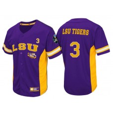 LSU Tigers #3 Purple 2017 World Series College Baseball Jersey