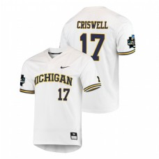 Michigan Wolverines #17 Jeff Criswell 2019 NCAA Baseball College World Series Jersey - White
