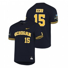Michigan Wolverines #15 Jimmy Kerr 2019 NCAA Baseball College World Series Jersey - Navy
