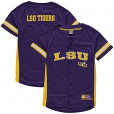 Youth LSU Tigers Purple Button-Up Strike Zone College Baseball Jersey