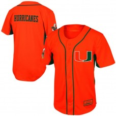 Youth Miami Hurricanes Orange Button-Up Strike Zone College Baseball Jersey
