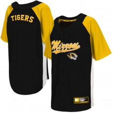 Youth Missouri Tigers Black Button-Up Strike Zone College Baseball Jersey