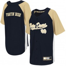 Youth Notre Dame Fighting Irish Navy Blue Button-Up Strike Zone College Baseball Jersey