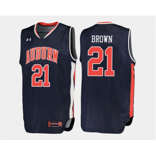 Auburn Tigers #21 Quinnel Brown Navy Road College Basketball Jersey