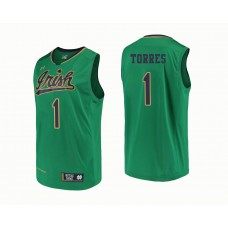 Notre Dame Fighting Irish #1 Austin Torres Green College Basketball Jersey