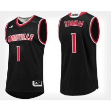 Louisville Cardinals #1 Lance Thomas Black Alternate College Basketball Jersey