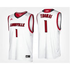 Louisville Cardinals #1 Lance Thomas White Road College Basketball Jersey