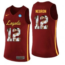 Loyola (Chi) Ramblers #12 Christian Negron Red College Basketball Jersey