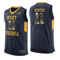 West Virginia Mountaineers #11 D'Angelo Hunter Navy College Basketball Jersey
