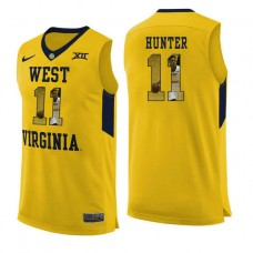 West Virginia Mountaineers #11 D'Angelo Hunter Yellow College Basketball Jersey