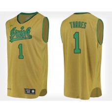 Notre Dame Fighting Irish #1 Austin Torres Gold Alternate College Basketball Jersey