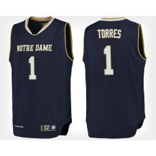 Notre Dame Fighting Irish #1 Austin Torres Navy Home College Basketball Jersey