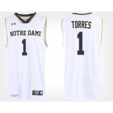 Notre Dame Fighting Irish #1 Austin Torres White Road College Basketball Jersey