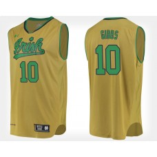 Notre Dame Fighting Irish #10 T.J. Gibbs Gold Alternate College Basketball Jersey