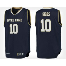 Notre Dame Fighting Irish #10 T.J. Gibbs Navy College Basketball Jersey