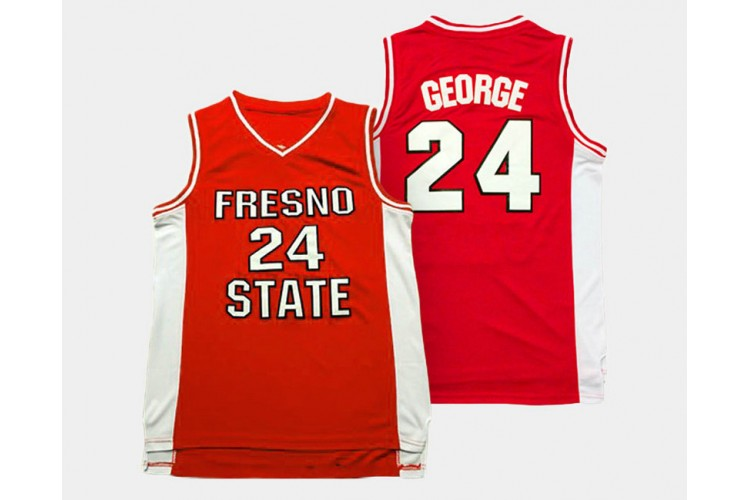 Fresno State Bulldogs #24 Paul George Red Road College Basketball ...