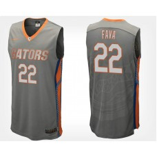 Florida Gators #22 Andrew Fava Gray Road College Basketball Jersey