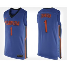 Florida Gators #1 Chase Johnson Blue Home College Basketball Jersey