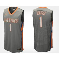 Florida Gators #1 Chase Johnson Gray Road College Basketball Jersey