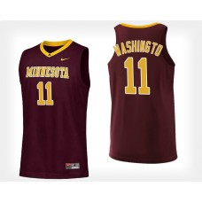 Minnesota Golden Gophers #11 Isaiah Washington Maroon Home College Basketball Jersey