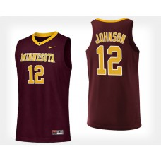 Minnesota Golden Gophers #12 Jarvis Johnson Maroon Home College Basketball Jersey