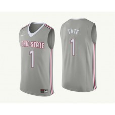 Ohio State Buckeyes #1 Jae'Sean Tate Gray College Basketball Jersey