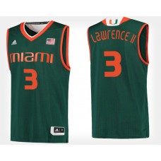 Miami Hurricanes #3 Anthony Lawrence II Green Alternate College Basketball Jersey