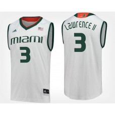 Miami Hurricanes #3 Anthony Lawrence II White Road College Basketball Jersey