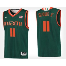 Miami Hurricanes #11 Bruce Brown Jr. Green Alternate College Basketball Jersey