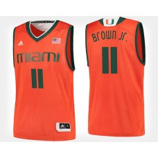 Miami Hurricanes #11 Bruce Brown Jr. Orange Home College Basketball Jersey
