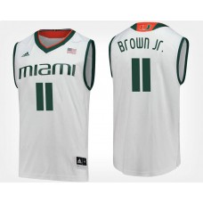 Miami Hurricanes #11 Bruce Brown Jr. White Road College Basketball Jersey