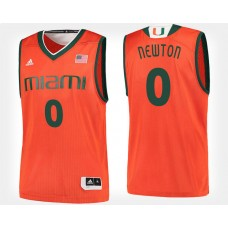 Miami Hurricanes #0 Ja'Quan Newton Orange Home College Basketball Jersey