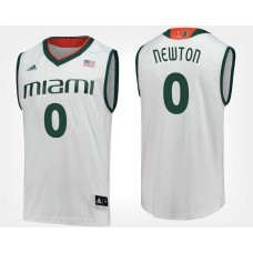 Miami Hurricanes #0 Ja'Quan Newton White Road College Basketball Jersey
