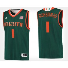 Miami Hurricanes #1 Rashad Muhammad Green Alternate College Basketball Jersey