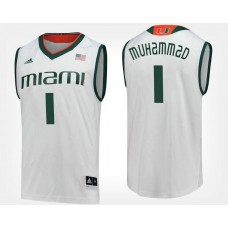 Miami Hurricanes #1 Rashad Muhammad White Road College Basketball Jersey