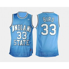 indiana state Sycamores #33 Larry Bird Blue Road College Basketball Jersey