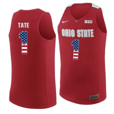 Ohio State Buckeyes #1 Jae'Sean Tate Red College Basketball Jersey