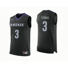 Kansas State Wildcats #3 Kamau Stokes Black College Basketball Jersey