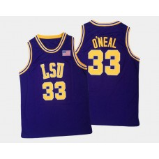 LSU Tigers #33 Shaquille O'Neal Purple Road College Basketball Jersey