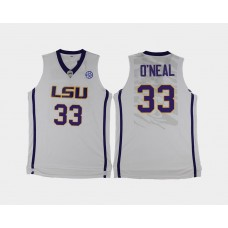 LSU Tigers #33 Shaquille O'Neal White Alternate College Basketball Jersey