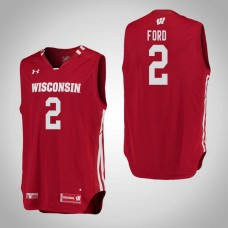 Wisconsin Badgers #2 Aleem Ford Red College Basketball Jersey