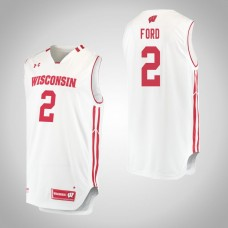 Wisconsin Badgers #2 Aleem Ford White College Basketball Jersey