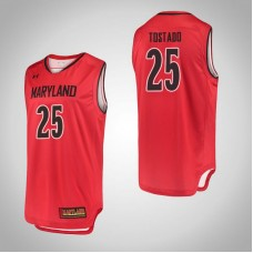 Maryland Terrapins #25 Alex Tostado Red College Basketball Jersey