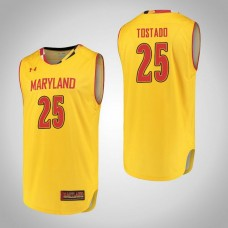 Maryland Terrapins #25 Alex Tostado Yellow College Basketball Jersey