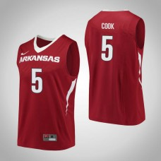 Arkansas Razorbacks #5 Arlando Cook Red College Basketball Jersey