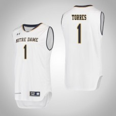 Notre Dame Fighting Irish #1 Austin Torres White College Basketball Jersey