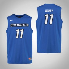 Creighton Bluejays #11 Bailey Norby Royal College Basketball Jersey