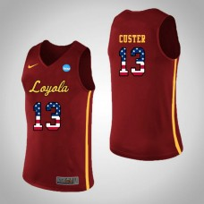 Loyola (Chi) Ramblers #13 Clayton Custer Red College Basketball Jersey