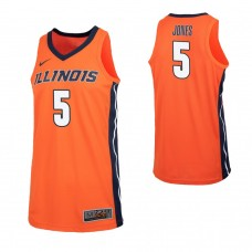 Illinois Fighting Illini #5 Tevian Jones Replica Orange Jersey